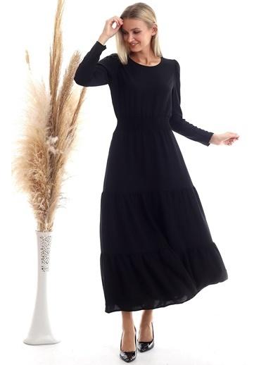 Cottonmood 20333316 Ayrobin Beli Gipeli Uzun Kol Uzun Elbise Siyah